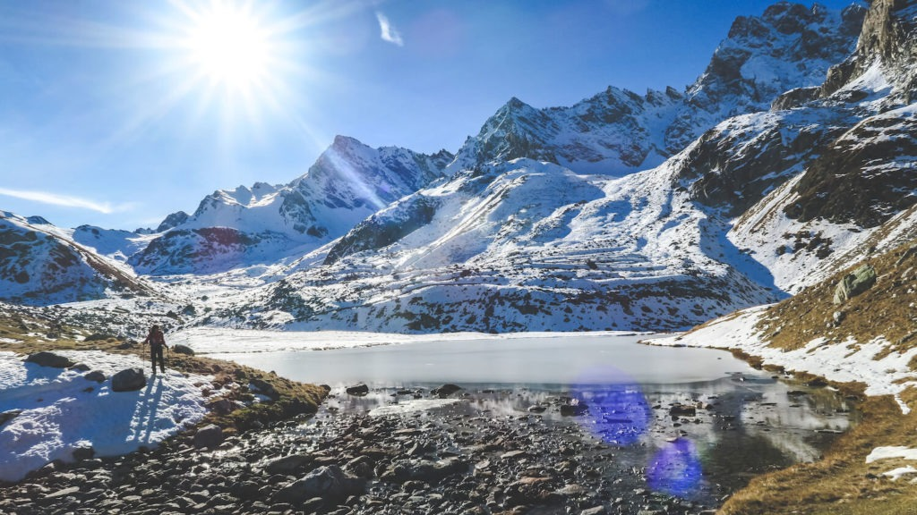 Lacs de Marinet gelés, en Haute-Ubaye