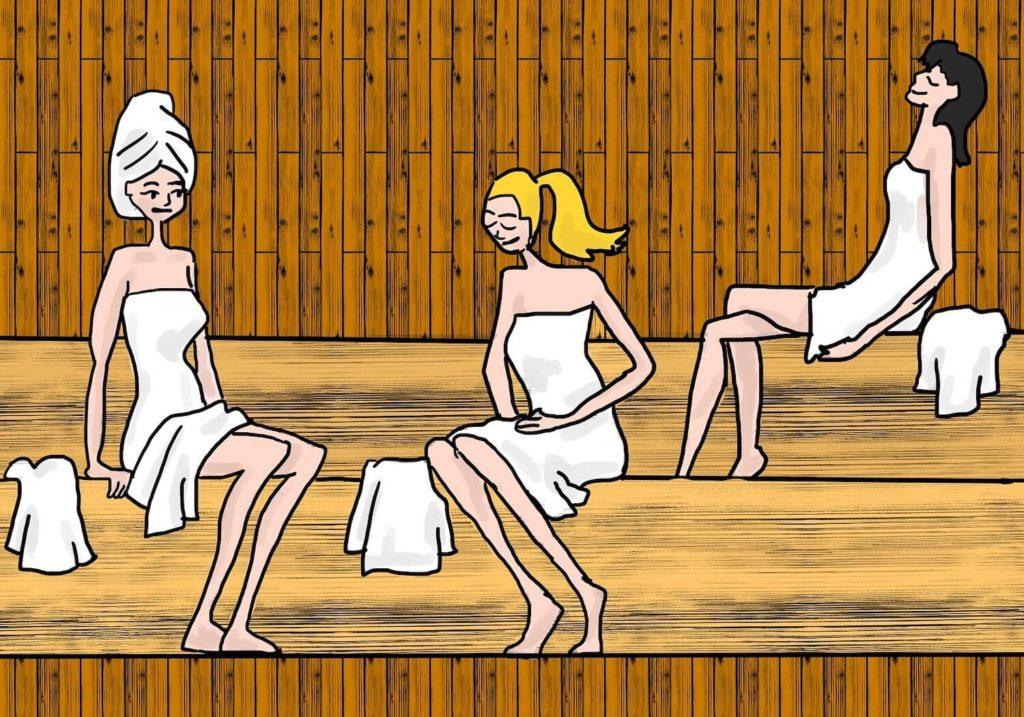 Dessin de jeunes femmes dans un sauna