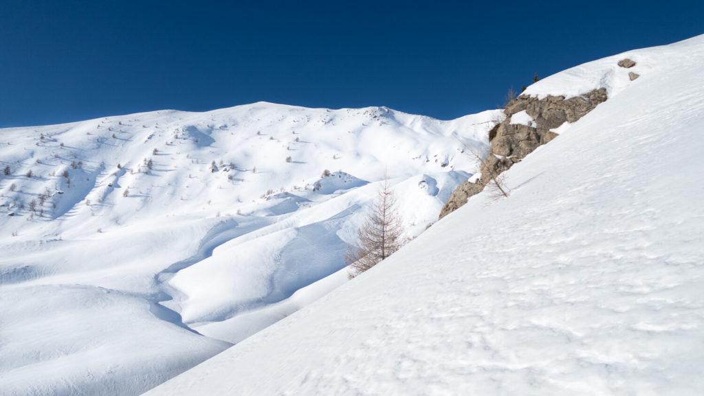 Paysage de montagne en neige avec crête et sapins