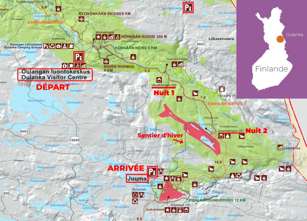 Carte du Oulanka Wilderness Trail, sentier de randonnée en Laponie Finlandaise