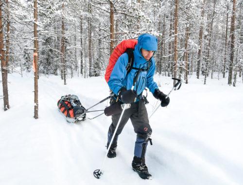 Homme qui marche sur un sentier enneigé en forêt en traînant une pulka