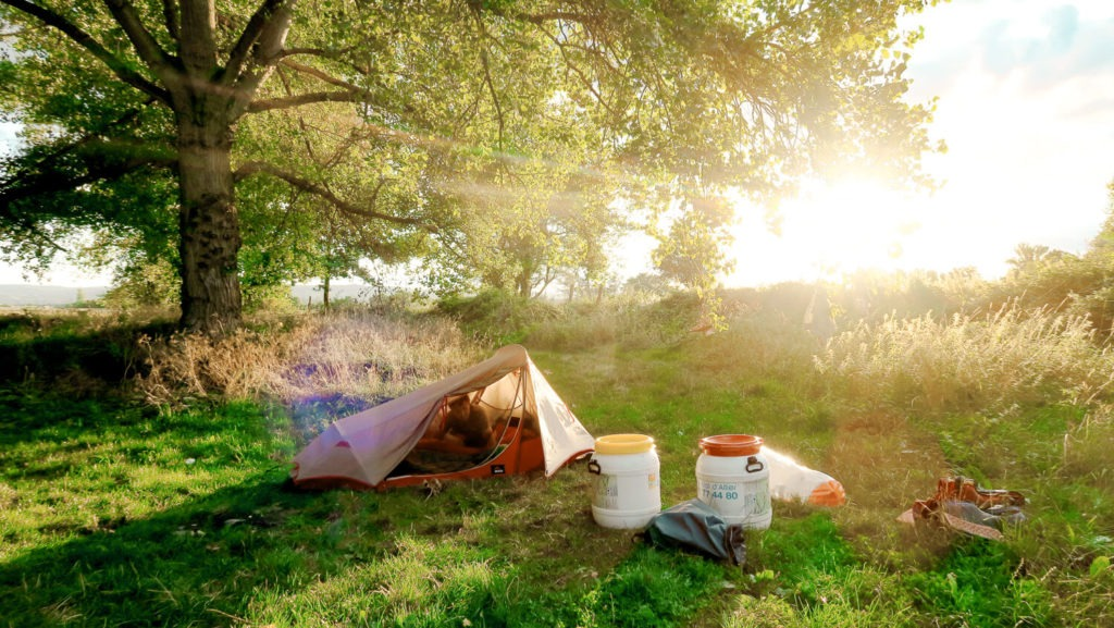 Une tente est posée sur l'herbe, avec les bidons étanches, devant un arbre avec un beau rayon de soleil