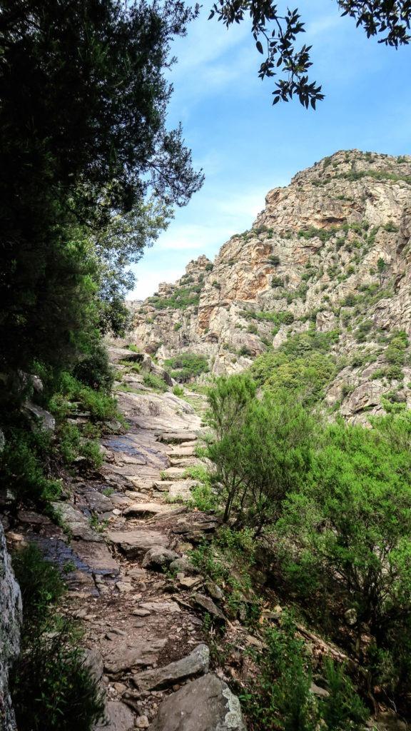 Sentier de pierres le long des gorges de Colombières